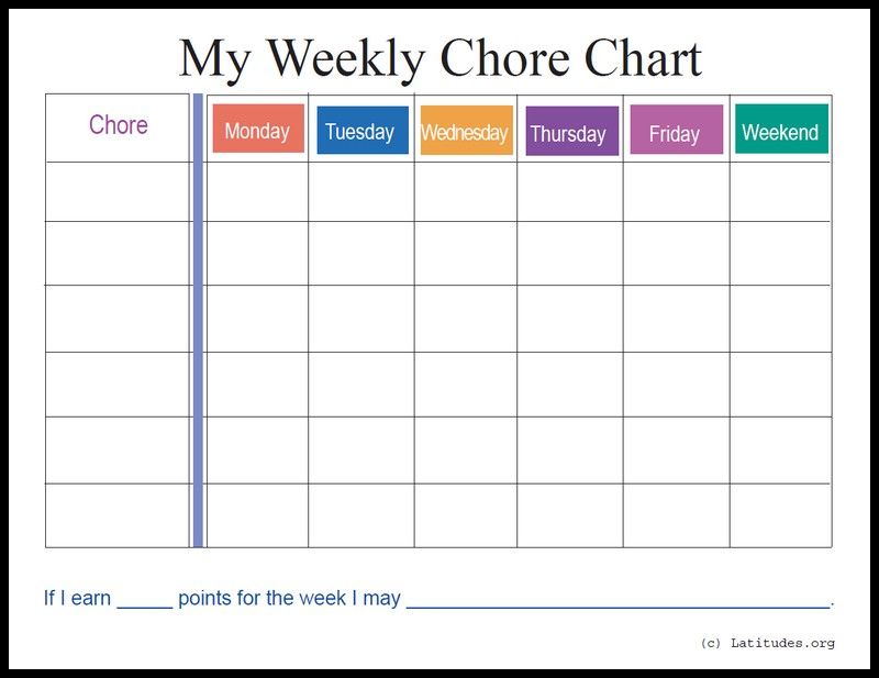 FREE Weekly Chore Chart (Colorful Weekly chore charts and Weekly - chore chart