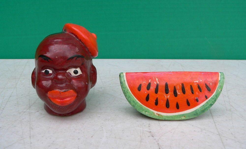 Vtg Black Americana Black Man Head w Hat & Watermelon Salt Pepper Shaker set