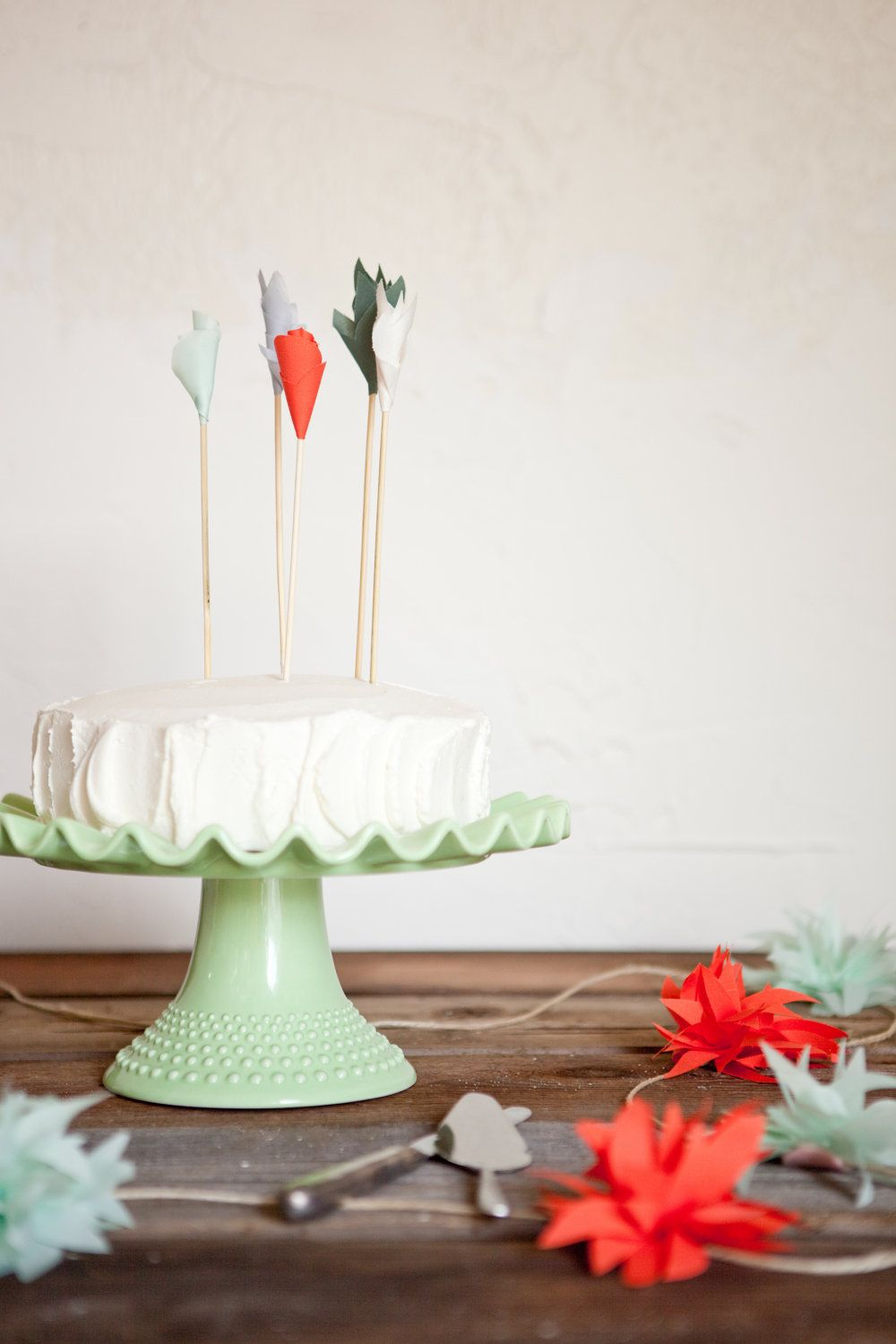 Coral mint fabric flower cake toppers 6 1500 via