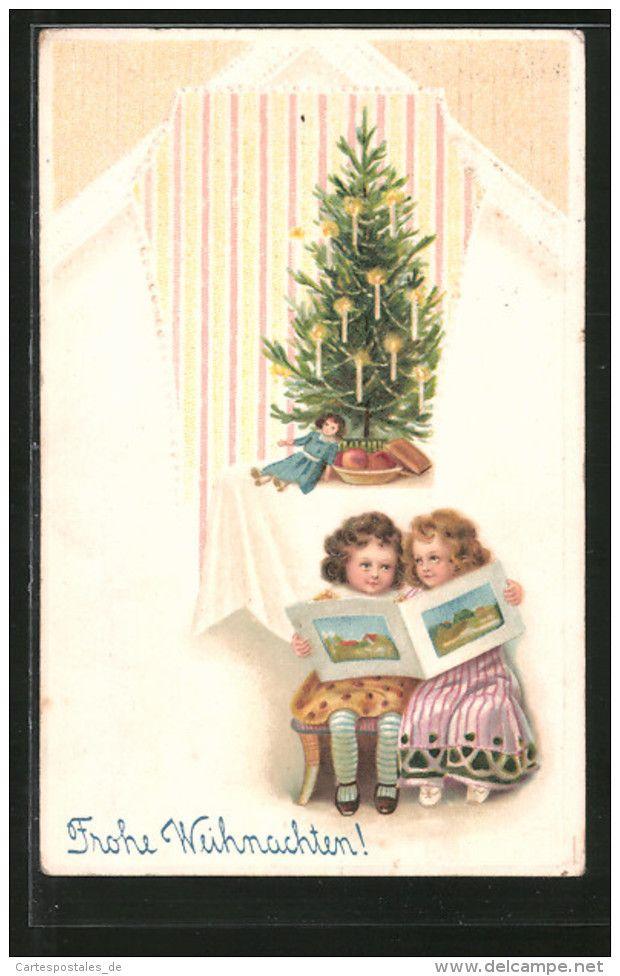 Tannenbaum Buch.Präge Ak Frohe Weihnachten Mädchen Lesen Ein Buch Tannenbaum