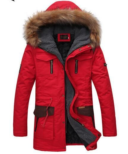 Pandapang Men Warm Hooded Quilted Patches Winter Down Jacket Parka Coat