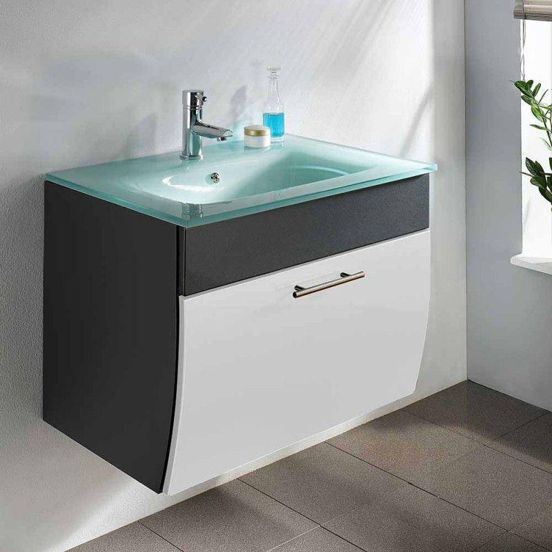 Moderner Waschplatz Fur Die Wandmontage Bestehend Aus Unterschrank In Weiss Anthrazit Front Hochgla Glaswaschbecken Waschbeckenschrank Badezimmerwaschtisch