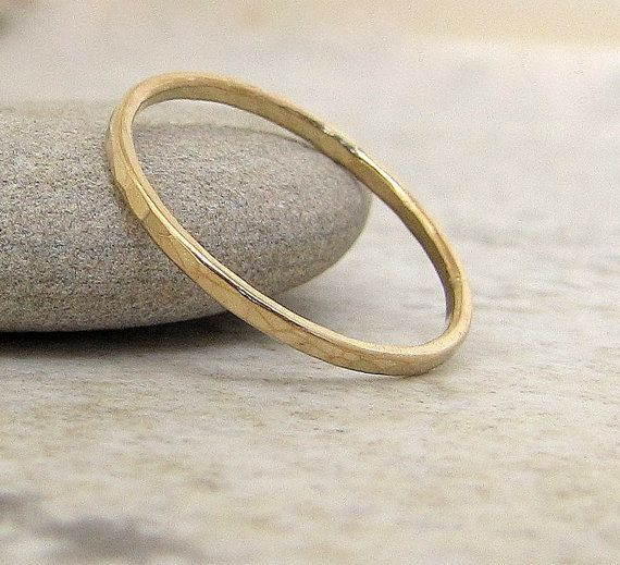 Thin Wedding Ring Gold Band 14k Hammered By Goldsmack 160 00
