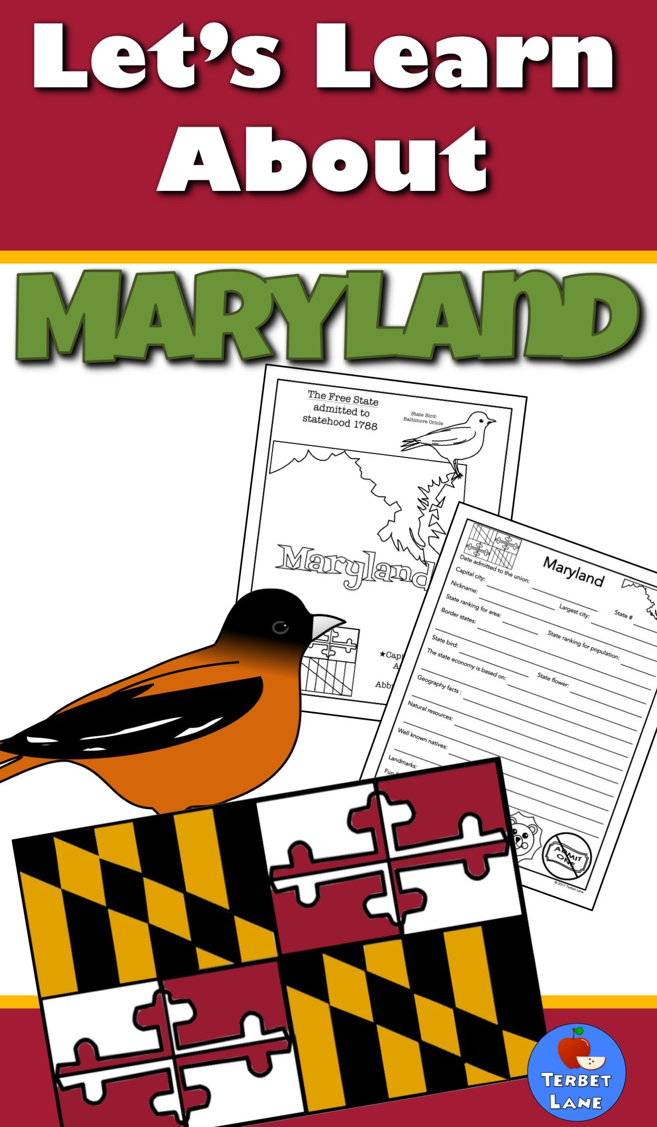 Maryland History And Symbols Unit Study State Studies Pinterest