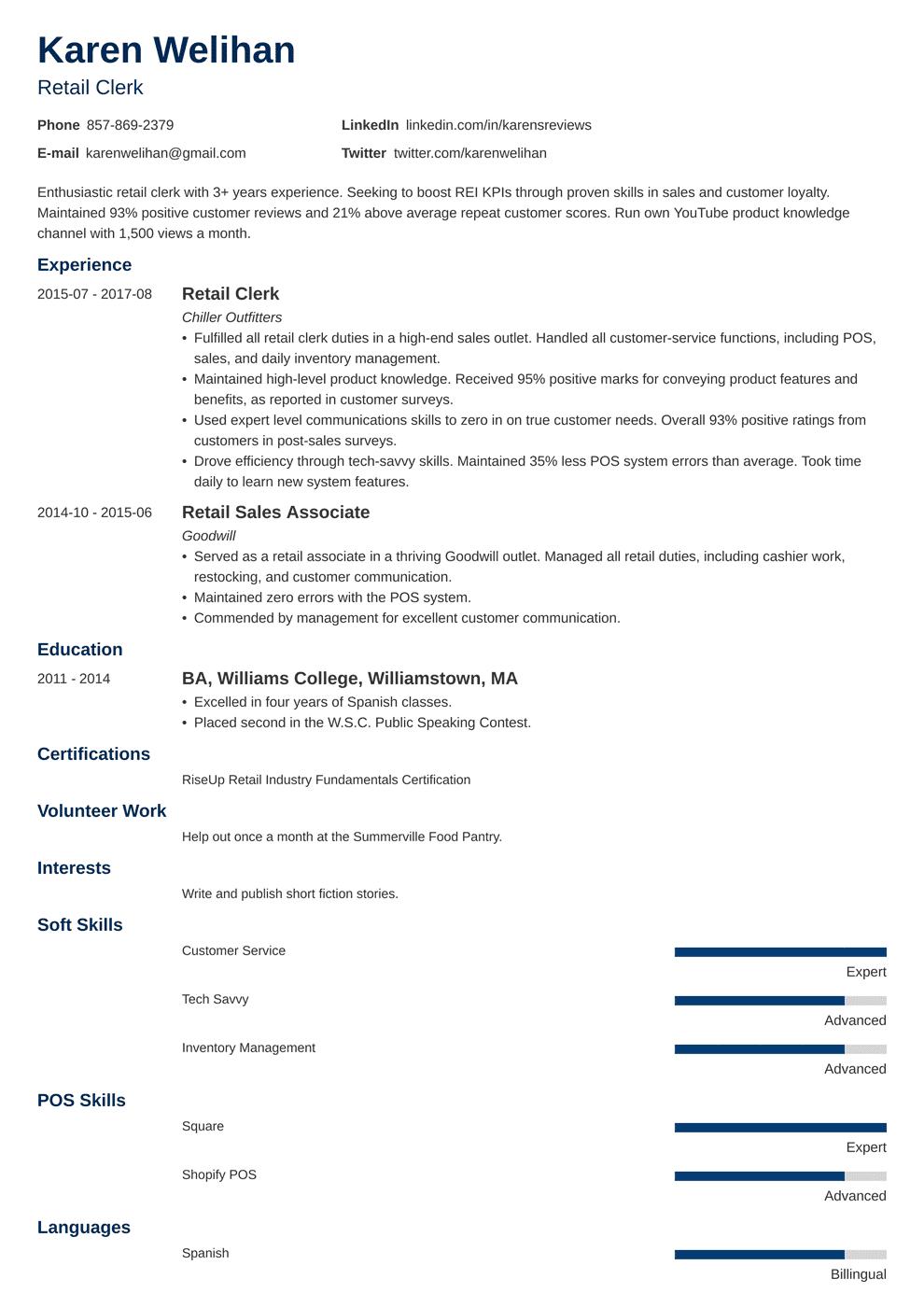 retail resume template minimo in 2020 Retail resume