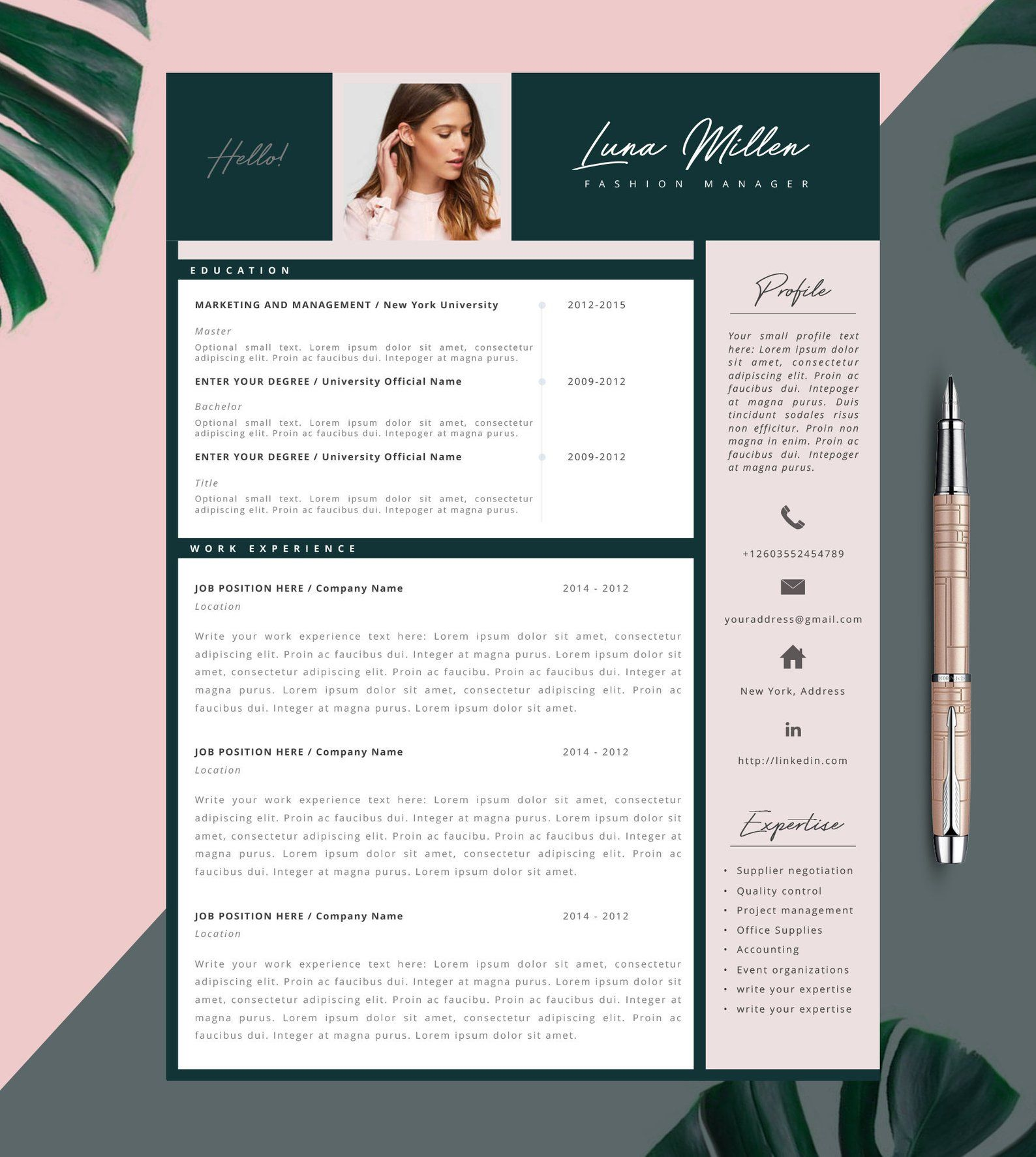 Fashion Resume, CV Template, Resume Template, Creative Resume, 2 Page Resume, Instant Download, Editable in MS Word and Pages - Lettre de couverture