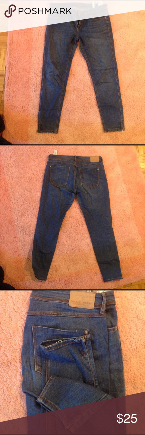 Zara Basic Z1975 Dark Wash jeans Zara Basic Z1975 Dark Wash cropped jeans. They have a tiny decorative zipper in the leg and are very confortable and stretchy ! Zara Jeans