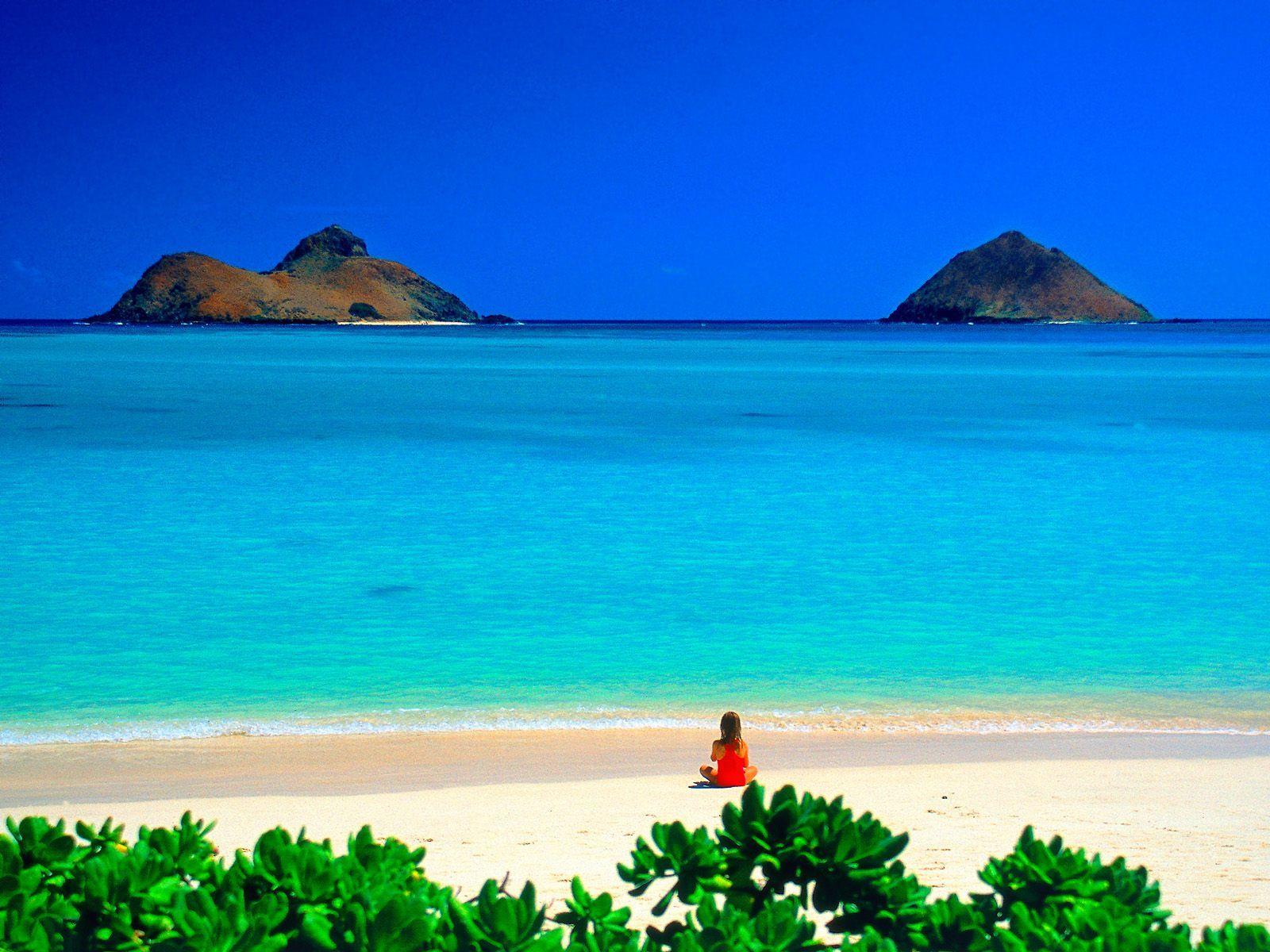 Hawaii.....warm, sandy beaches, clear water.....