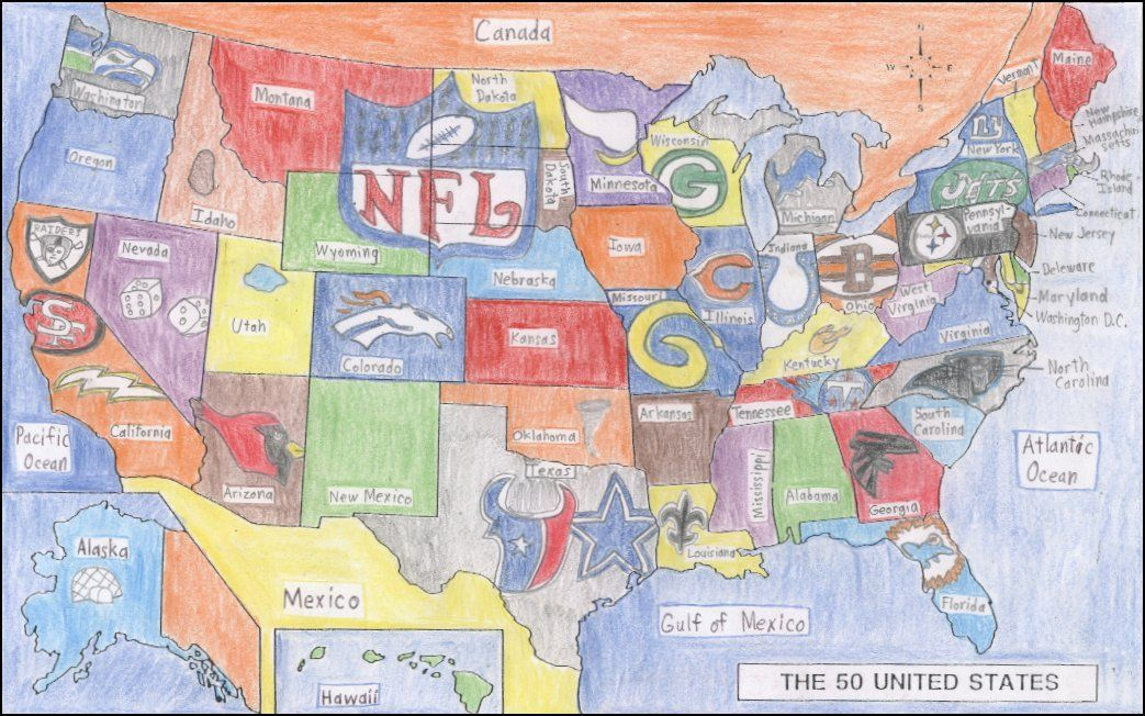 This Is A Picture Of A Map Full Of NFL Football Teams It Was - Us map nba teams