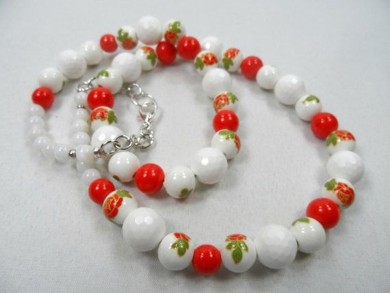 "Red and White Floral Motif Ceramic Beaded Necklace - 22"" Length with Silvertone Finishes"