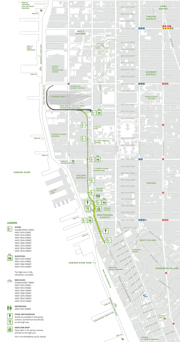 map of the high line an urban park in nyc by friends of the