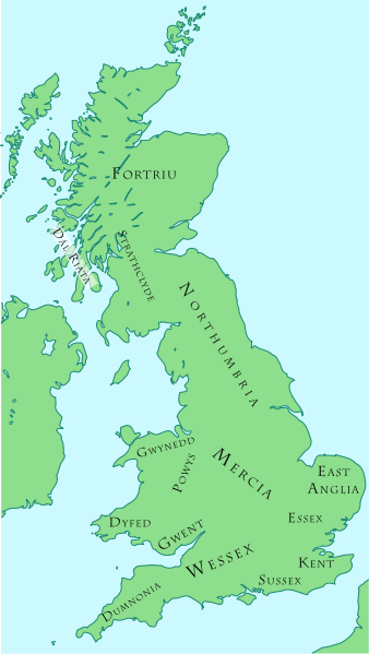 Map Of England Under Alfred The Great.Anglo Saxon And British Kingdoms C 800 This Is About A Century