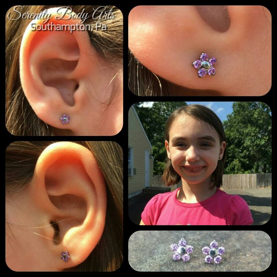 Anne Marie Healed Up Her Adorable Lobe Piercings And We Had The Pleasure Of Putting In These Amethyst Flower Ends From Piercings Body Art Tattoos And Piercings