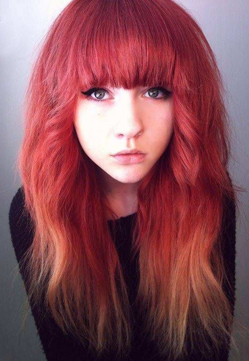 girls with red hair ombre color