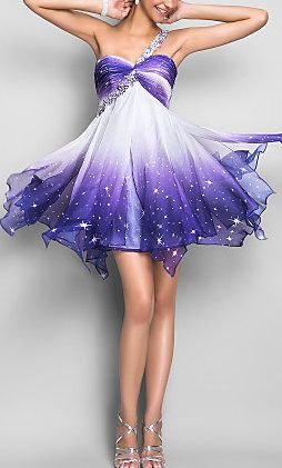 Chiffon One Shoulder Short Purple Homecoming Dress