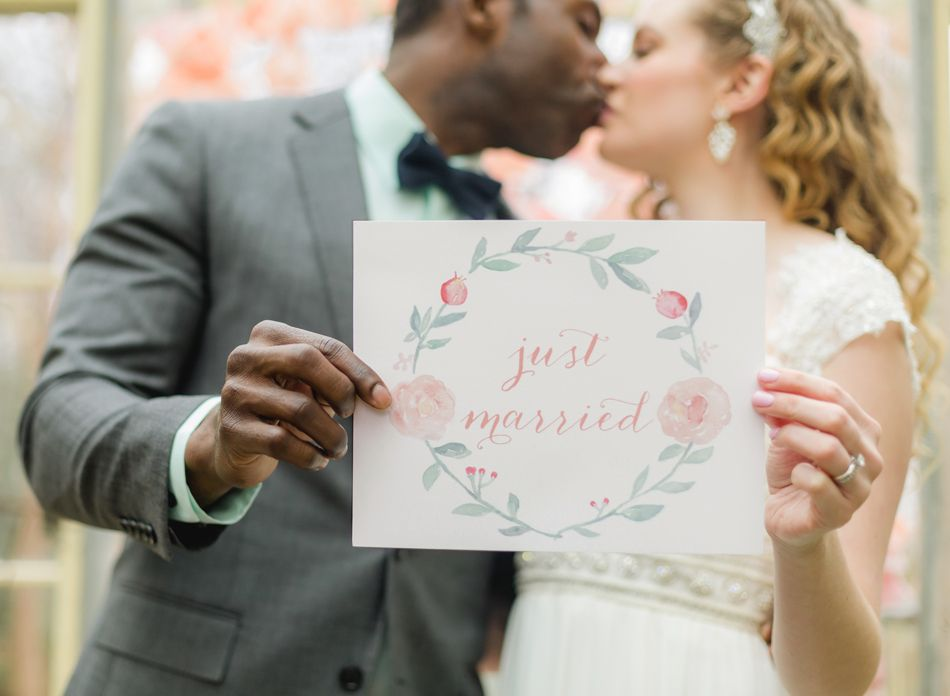 Watercolor Just Married Sign - by Leveret Paperie
