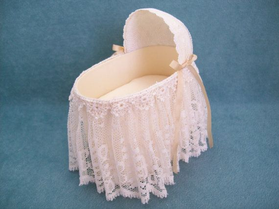 Miniature hand made Cream Lace Bassinet for the Dollhouse