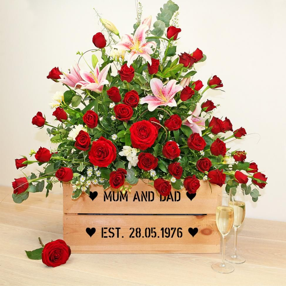 Ruby Wedding Anniversary Personalised Crate Present40th