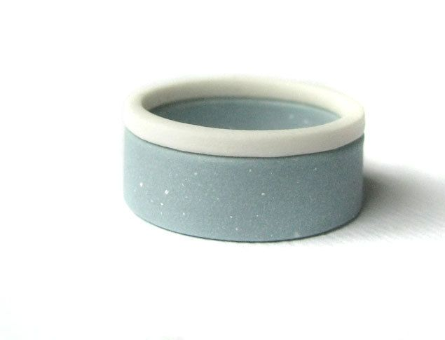 Color Block Jewelry - Blue and White Porcelain Double Stack Rings via Etsy.