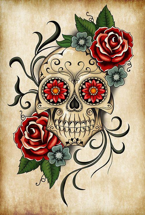 Skull Roses With Images Sugar Skull Artwork Skull Artwork