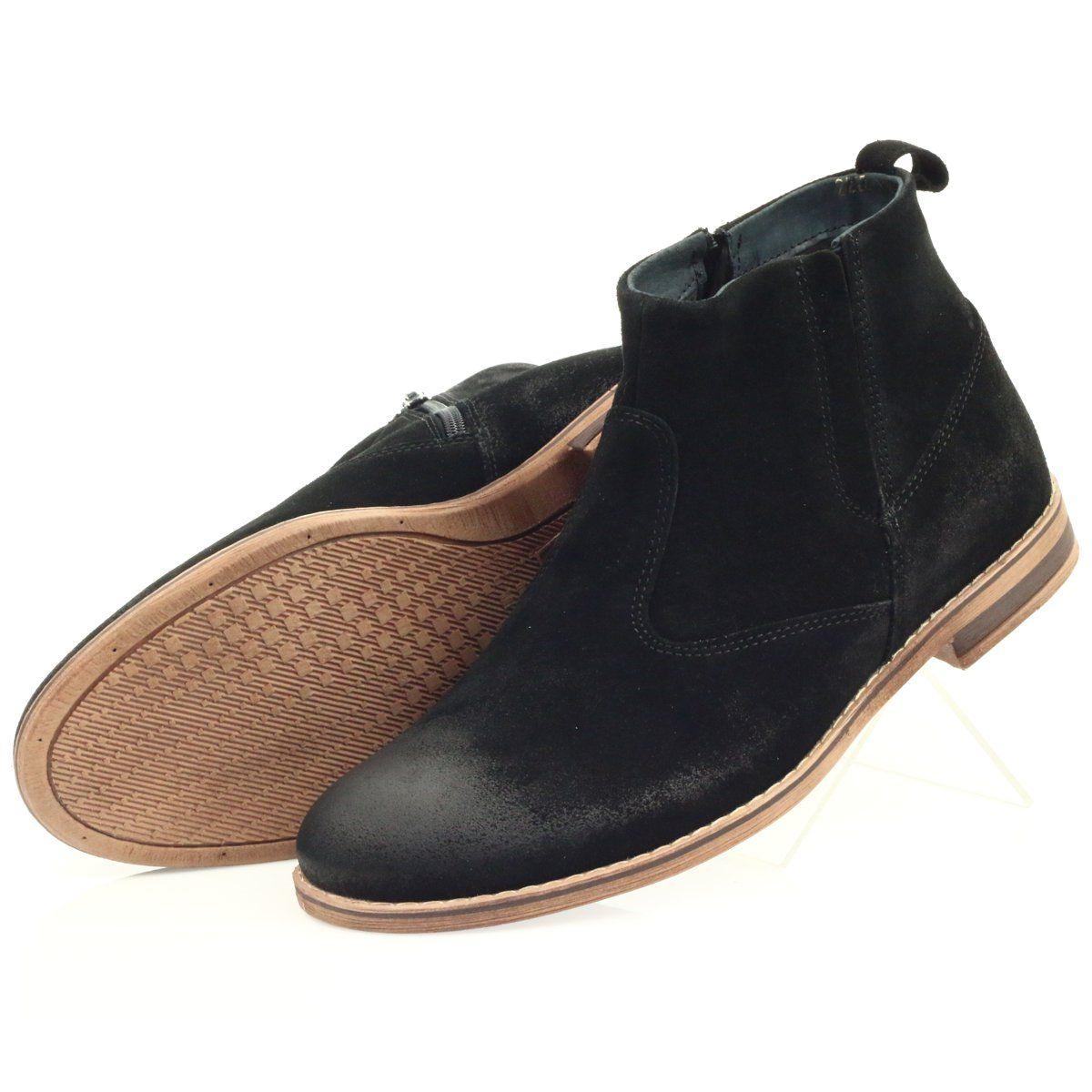 Riko Sztyblet Zamszowy Na Suwak Czarne Boots Chukka Boots Chelsea Boots