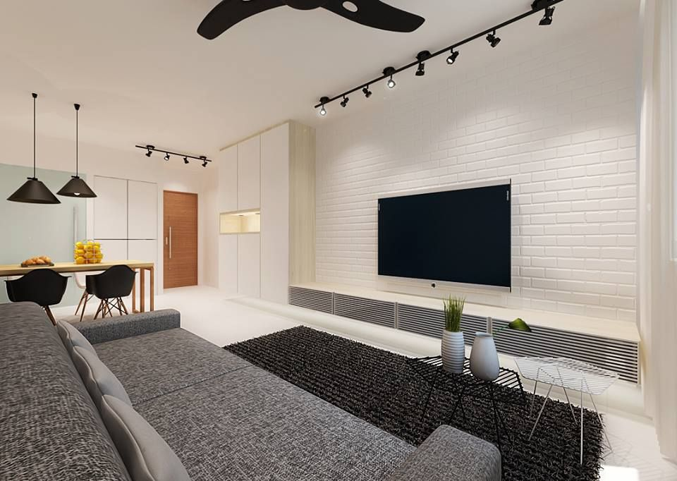 Create An Elegant Statement With A White Brick Wall Living Room