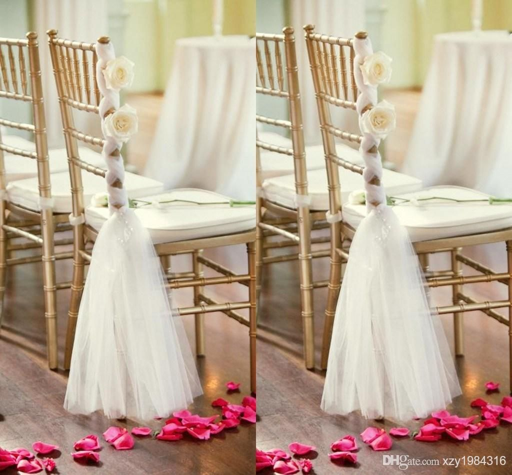 Wedding decorations using tulle  White Tulle Chair Sashes Handmade Flowers Crisscross Chair Sashes
