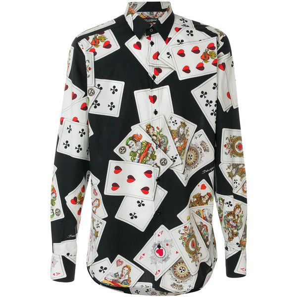 9745288a0 Dolce & Gabbana Playing Cards print shirt ($740) ❤ liked on Polyvore  featuring men's fashion, men's clothing, men's shirts, men's casual shirts,  black, ...