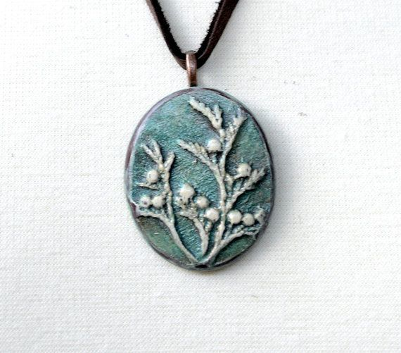Cedar Branch Patina Green Polymer Clay Pendant by Distlefunk2