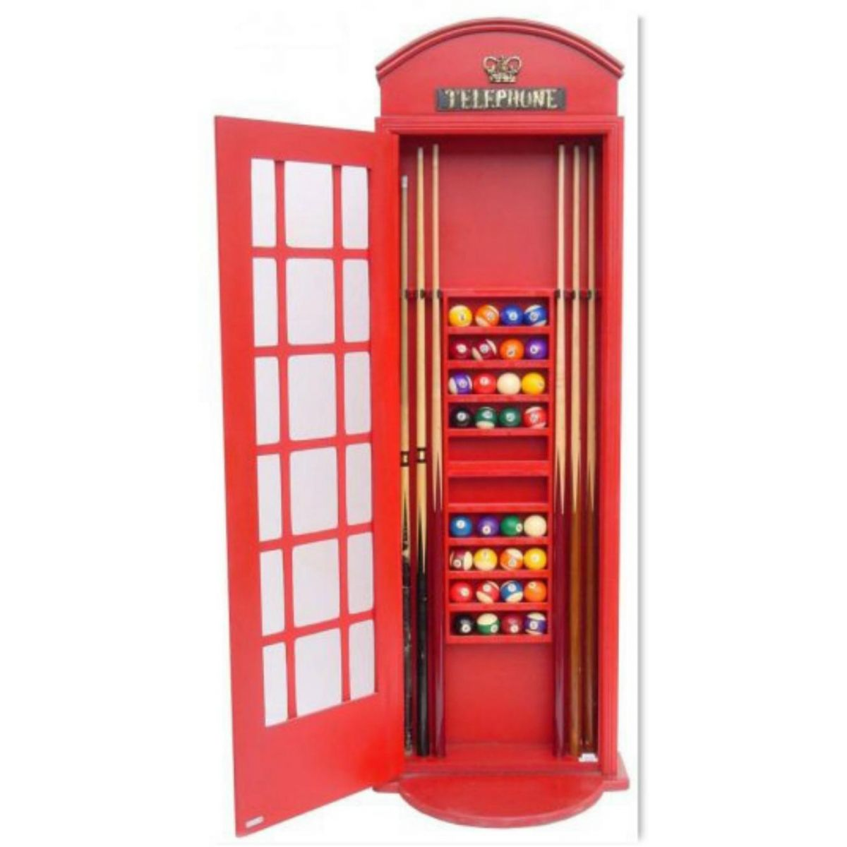 Wall Mounted Red English Phone Booth Billiards Pool Table Cabinet For Balls  Cue Sticks Chalk