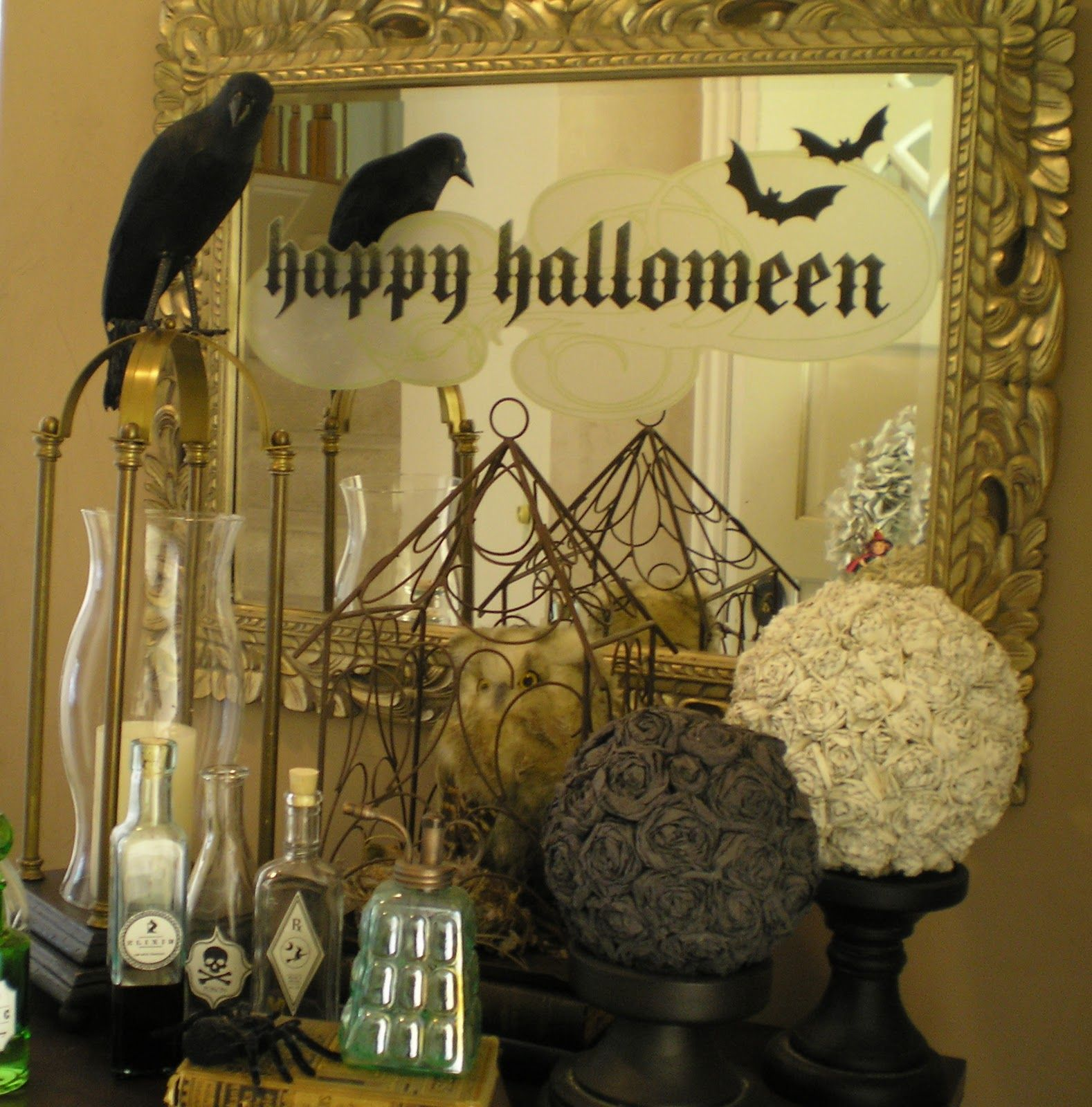 decoration ideas vintage gold halloween mirror with white owl and raven black indoor house decoration interesting spooky indoor halloween decoration ideas - Halloween Clearance Decorations