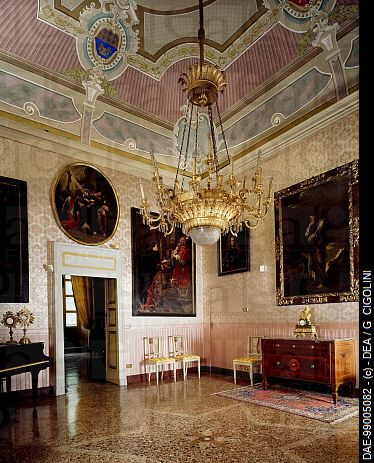 Glimpse of the Hall of the Coats-of-Arms, Palazzo Costa, Piacenza, Emilia-Romagna. Italy, 18th century.