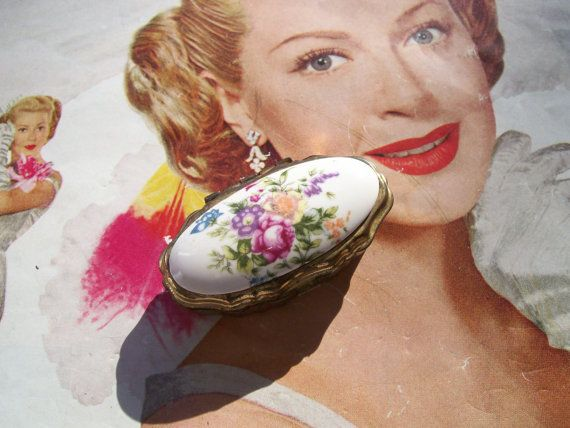 Vintage Floral Cluster Pill Box Wedding Bridal by BlissMercantile, $4.00