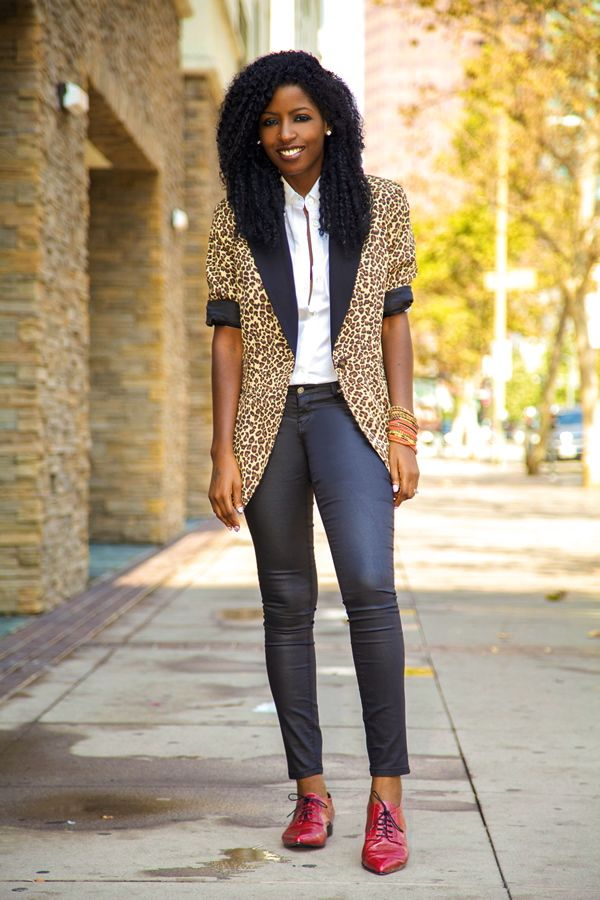 @Style Pantry Leopard Print Blazer + Button-Up + Coated Ankle Jeans