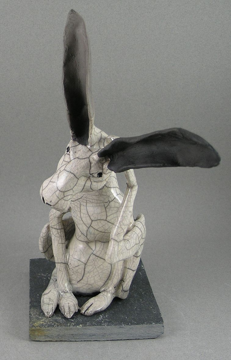 Jack Rabbit sculptures for sale, Raku fired stoneware