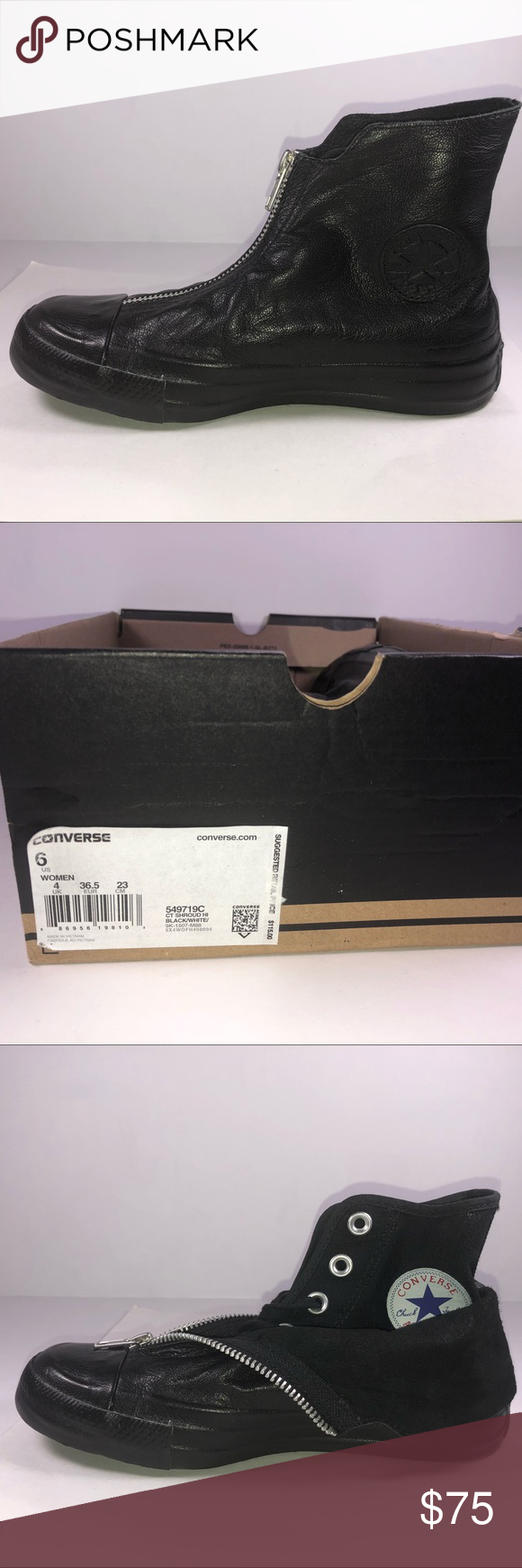 c013468fb831 Converse All Star Shroud High Top Leather Sneaker New With Damaged Box  Missing Lid See Pictures For Details. Converse Chuck Taylor All Star Shroud  High Top ...