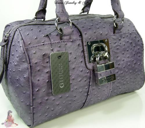 Guess G Logo Purse Large Satchel Handbag Violet Purple Ostrich ...