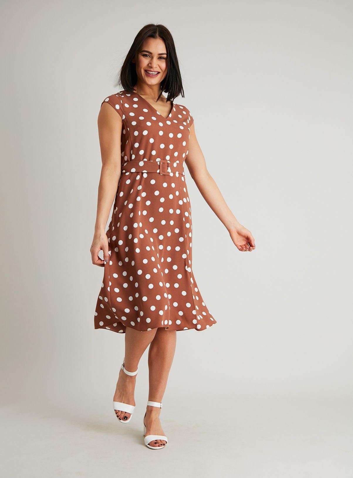 46++ Brown polka dot midi dress trends