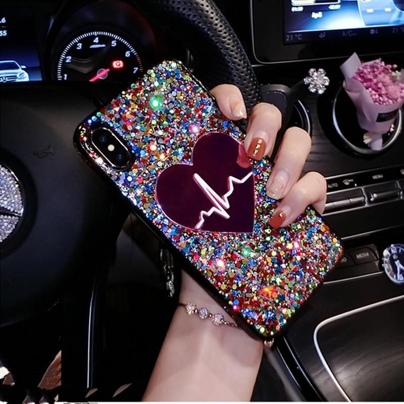 Glitter sequin big heart phone case for iphone 11 pro max