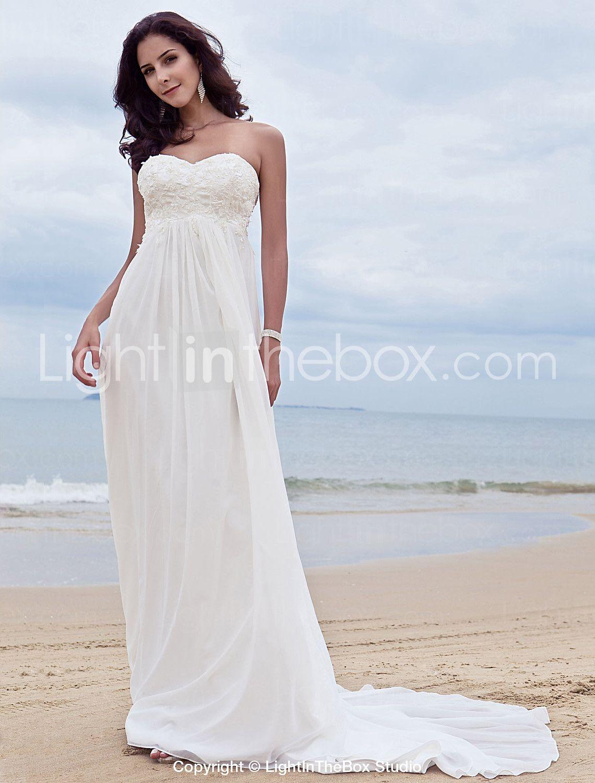 Aline sweetheart court train chiffon wedding dress with beading