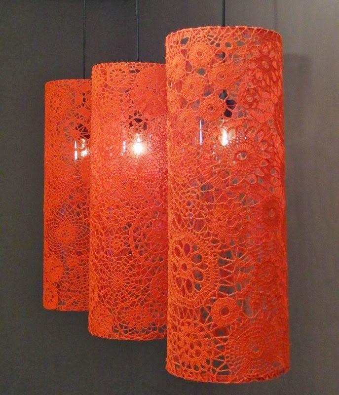 Kafijas krūze Tamborēti lampu abažūri (crochet lamp shades