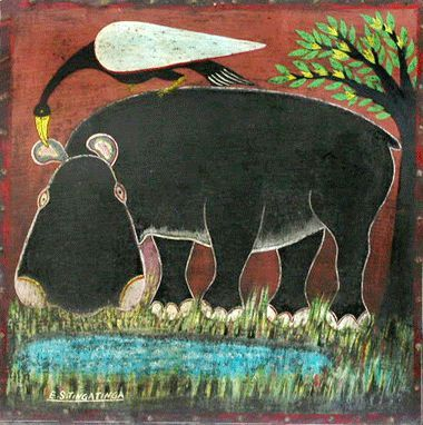 Hippo at Lake - Edward Saidi Tingatinga (1932 - 1972)