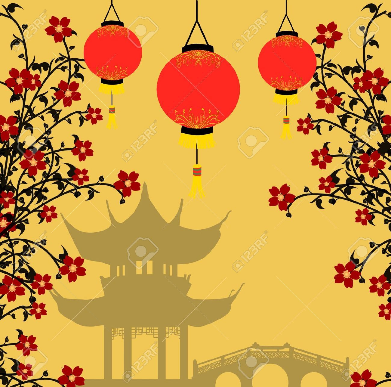 Traditional Chinese Lanterns For Chinese New Year And Asian Pagoda ...