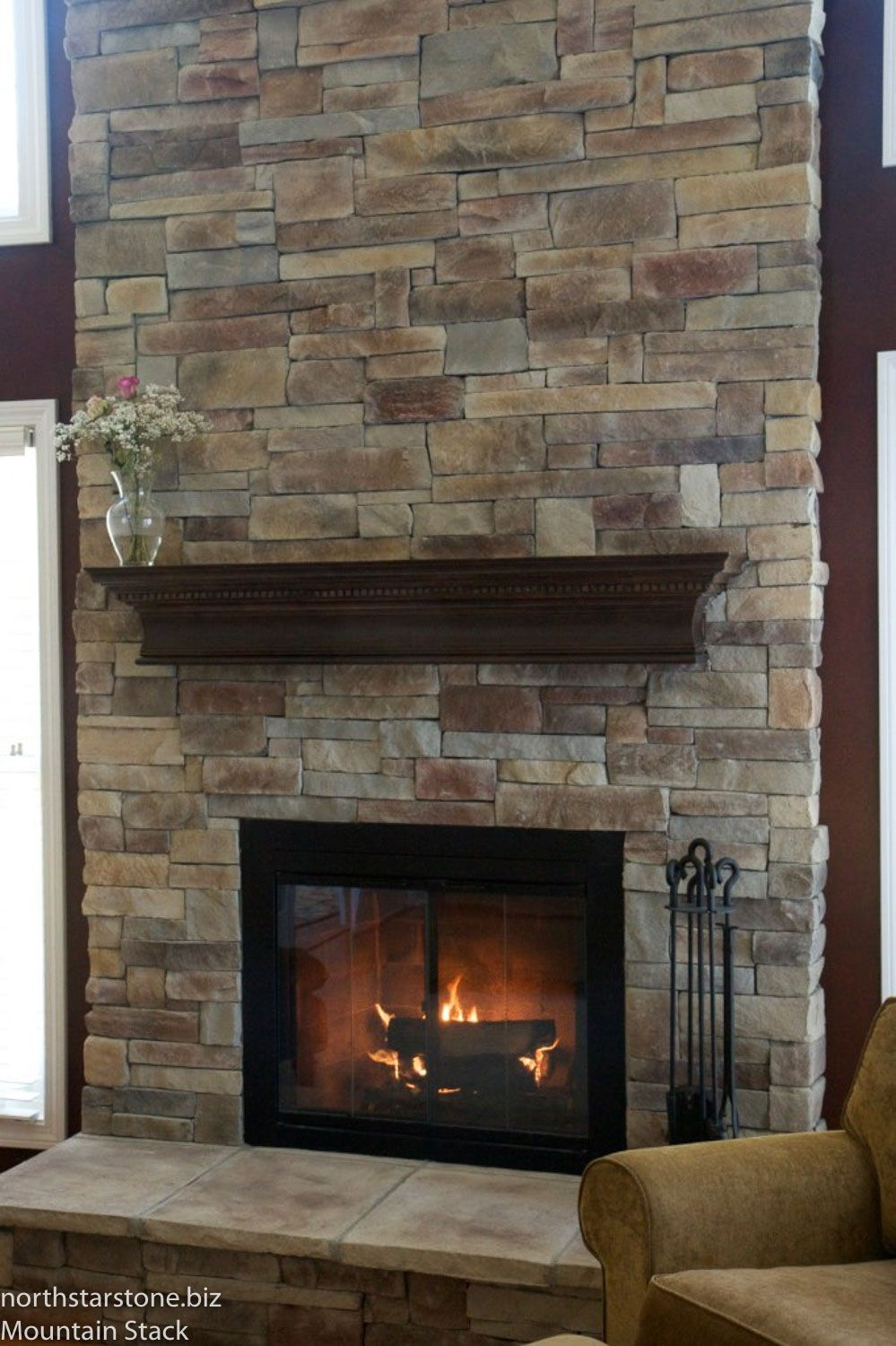 North Star Stone Stone Fireplaces Stone Exteriors: Mountain Stack Stone Veneer Fireplace Gallery