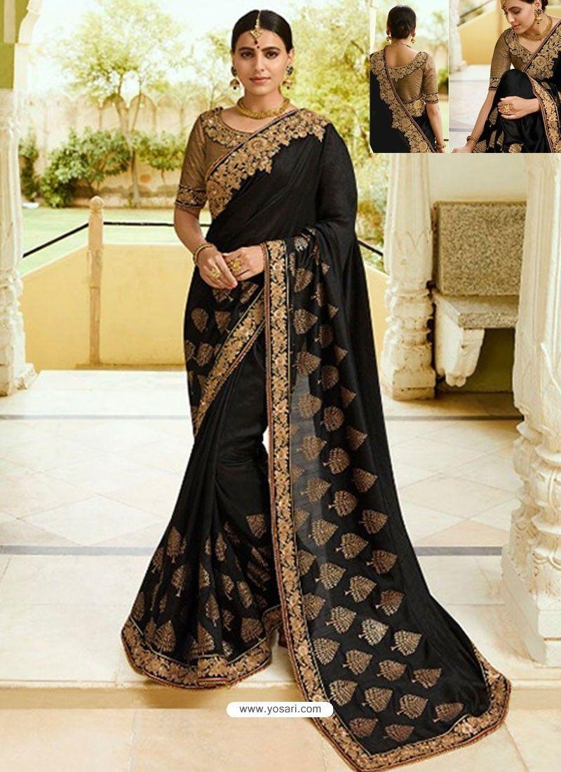599f7292691c7 Black Embroidered Net Designer Party Wear Saree in 2019