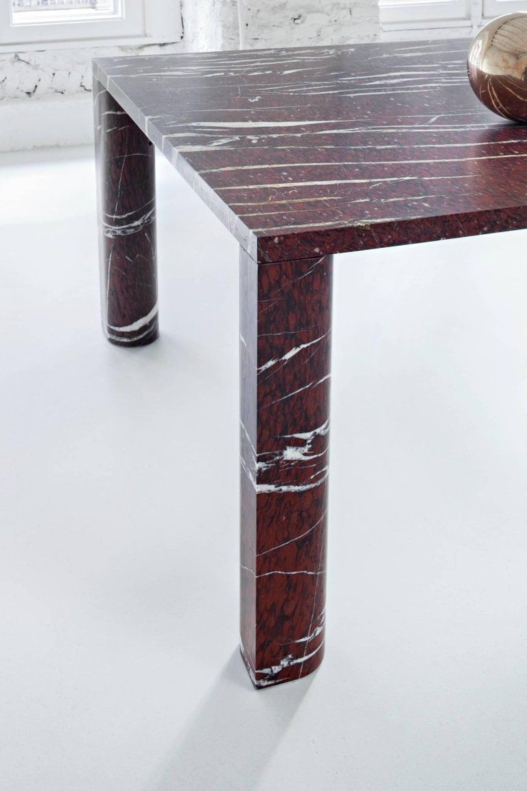 Salvatori 'Love Me, Love Me Not' Rectangular Dining Table in Rouge du Roi Marble is part of Table furniture - For Sale on 1stdibs  The stone is the star of the show in these tables which were designed by Michael Anastassiades with the specific intention of highlighting the opulence