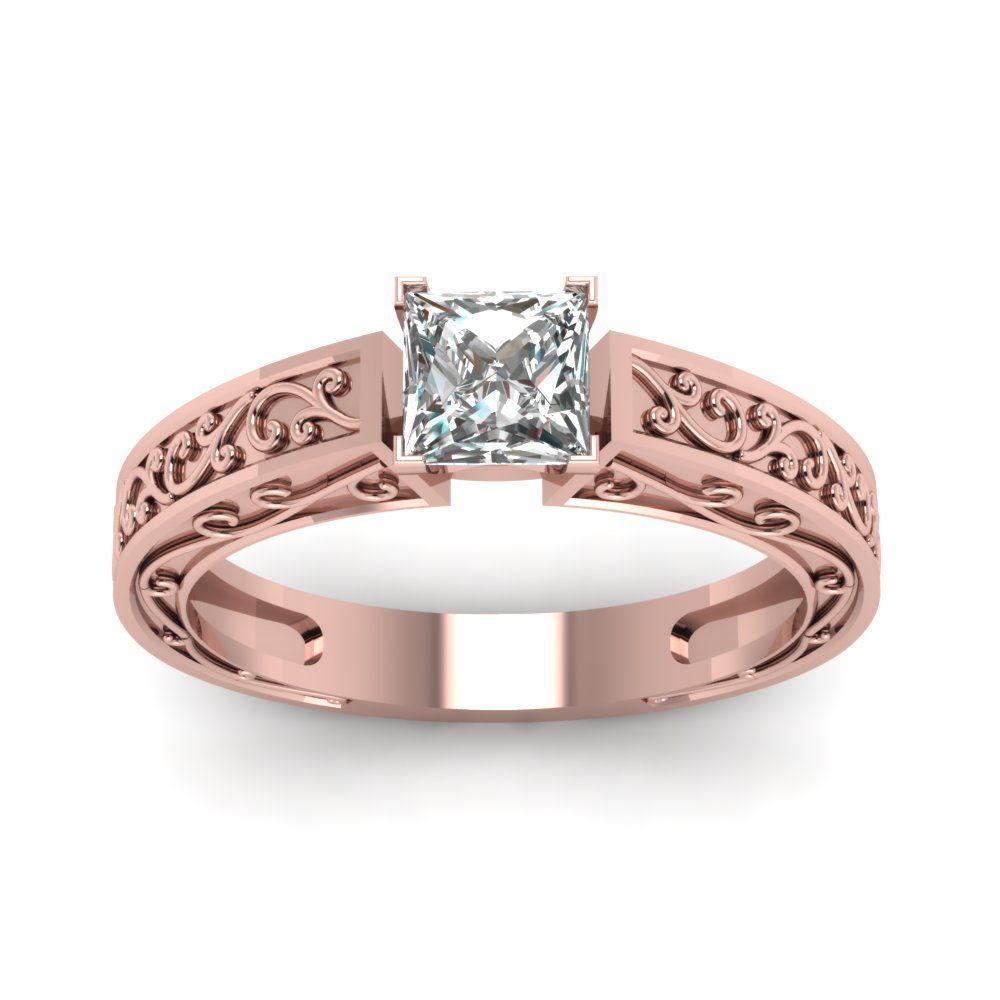 Filigree design princess cut diamond solitaire engagement rings in