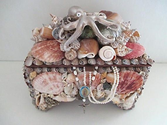 Large ShellOctopus Box Nautical Jewelry Box My Lady is the Sea 2