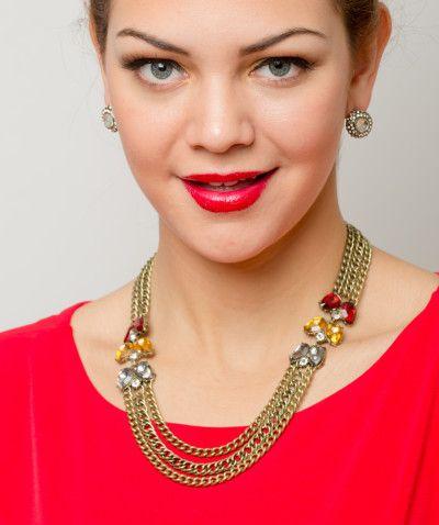 33465c615508 Collar Gargantilla Vintage MultiCadenas Dorado Y Aretes Modelo C010 ...