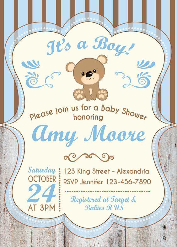 Invitación Para Baby Shower Con Oso Baby Shower